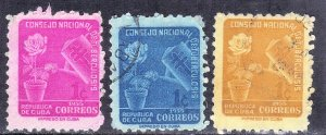 CUBA SC# RA27+28+29  **USED** 1955  1c     SEE SCAN