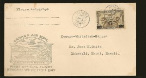 Canada C3 on 1935 Kenora-Whitefish Bay Ont First Flight Cover (1)