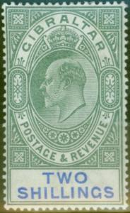 Gibraltar 1903 2s Green & Blue SG52 Fine & Fresh Lightly Mtd Mint (5)