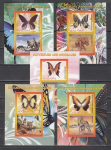 Malawi, 1998 Cinderella issue. Butterflies & Dinosaurs. 5 IMPERF s/shts of 2. ^