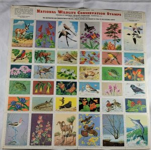 Lot of 7 National Wildlife Conservation Stamps Sheets. 1950 - 1959