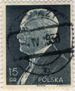 POLOGNE / POLAND / POLEN 1938  ŁOMAZY / b  CDS on Mi.324 15Gr black