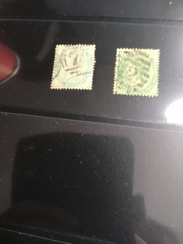 Great Britain Scott #28&28b Used 2015 Cat. $750.1856 1sh Green&Deep Green  VG-F