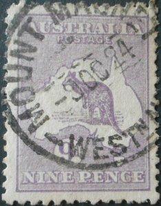 Australia 1916 Nine Pence Kangaroo with MOUNT MAGNET postmark