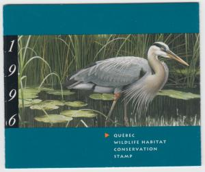 Canada- #QW9B 1996 Quebec Wildlife Conservation Stamp Booklet - Capex O/P