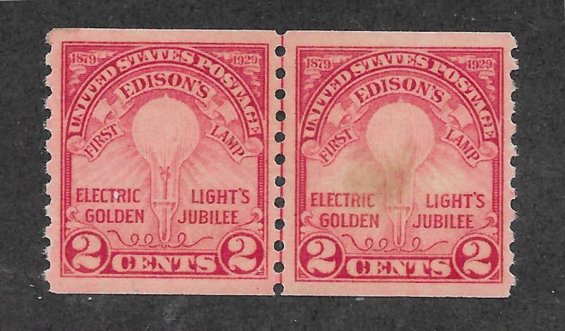 656 MNH, 2c. Electric Light, JLP,  scv: $110, Free, Insured Shipping