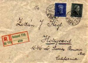 Hungary 40f Munkacsy and 50f Csoma 1934 Budapest, 115 Registered to Hollywood...