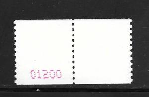 #3612 MNH Pair With Control #01200 on Back