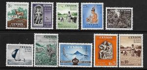 CEYLON 319-328  MINT HINGED,  1954 SET OF COUNTRY SIDE AND WILDLIFE