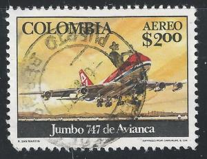 Colombia #C633 2p 747 Jumbo Jet