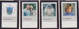 St. Helena Stamp Set Scott #372-5, Mint Never Hinged MNH, Princess Diana - Fr...