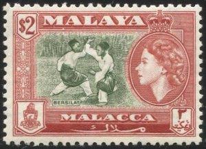 MALAYA Malacca 1957  $2 MLH, Sc 54 / SG 59  F-VF, Bersilat Martial Arts
