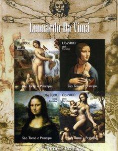 Sao Tome and Principe 2005 Leonardo da Vinci/Mona Lisa Sheetlet IMPERFORATED MNH