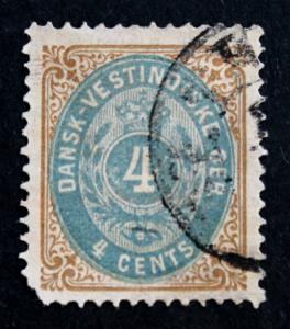 Stamp Danish West Indies Sc#  7 Used with LL Corner Perf Fault