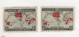 2x Canada 1898 X-mas Map Stamps #86-2c MH GD #86-2c Used Guide Value = $31.00