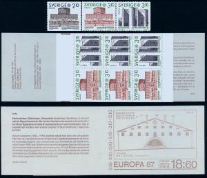 SWEDEN 1628-1630a, Europa Architecture. Single pair & booklt