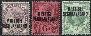 BECHUANALAND 1891 QV GB 1D 6D AND 1/-