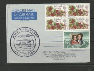 Falkland islands 1973 Forces airletter Mail to England, with HMS Endurance cache