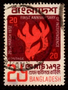 Bangladesh 20p 1st Anniv. of Independence, Flame 1972 Sc.33 SG.13 Used (#2)