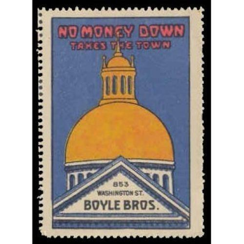 Boyle Bros. NO MONEY DOWN Advertising Poster Stamp