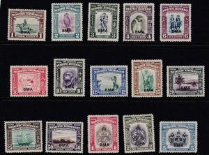 NORTH BORNEO   1945  S G  320 - 334    SET OF 15  MH CAT £250