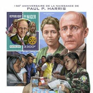 HERRICKSTAMP NEW ISSUES NIGER Paul Harris S/S