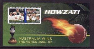 Australia-Sc#2592a-unused NH sheet-Sports-Ashes Cricket-2006-