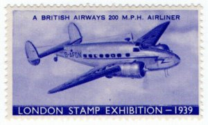 (I.B) Cinderella Collection : Stamp Exhibition 1939 (Airliner)