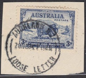 AUSTRALIA USED IN NEW ZEALAND 1934 AUCKLAND LOOSE LETTER cds on piece.......C622