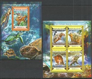 ST161 2015 GUINEA TURTLES FAUNA REPTILES KB+BL MNH STAMPS