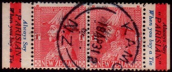 NEW ZEALAND GV 1d pair ex booklet used - PARISIAN TIES advert..............41761