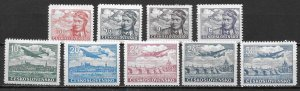 Czechoslovakia C19-27 Airmails set Unused Hinged