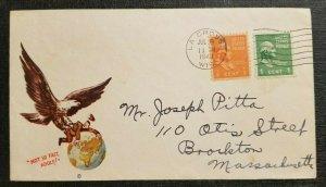 1948 Patriotic WWII Cachet La Crosse Wisconsin to Brockton Massachusetts