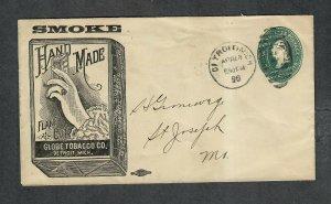 US Adv Cover Globe Tobacco Co Detroit MI 1896 Sc#u311a