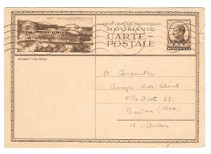 Romania Iasi to US 6L Picture Postal Stationery Card 1933 Machine Roller Cancel