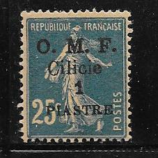 Cilicia #122 1pi on 25c blue (MLH)  CV$2.00