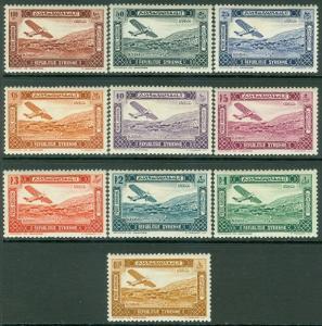 SYRIA : 1934. Yvert #A60-69 Very Fresh set. Very Fine, Mint OG VLH. Cat €265.00