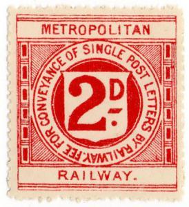 (I.B) Metropolitan Railway : Letter Stamp 2d (no control number)