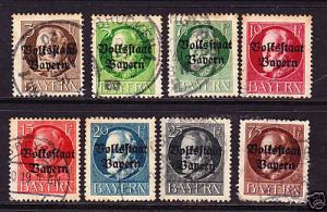 BAVARIA 1919 VOLKSSTAAT BAYERN OVPTS  PART SET FU
