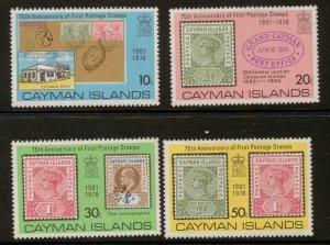 CAYMAN ISLANDS SG399/402 1976 ANNIV OF FIRST POSTAGE STAMP MNH