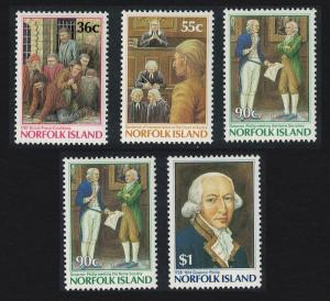 Norfolk Bicentenary Governor Phillip's Commission 5v SG#396-400 SC#392-396