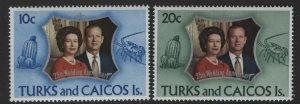 Turks & Caicos MNH 257-8 QE II Silver Wedding Anniversary 1972