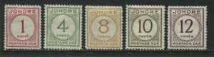 Malaya Johore1938 Postage Dues 1 cent to 12 cents mint o.g.