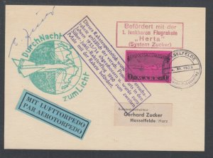 Germany E-Z BC1a, flown 1933 Rocket Mail card, no German postage, unusual.
