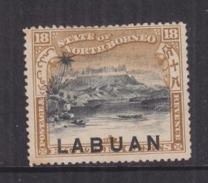 LABUAN, 1897 18c. Postage & Revenue, perf. 14 1/2-15, mint no gum, heavy hinge.