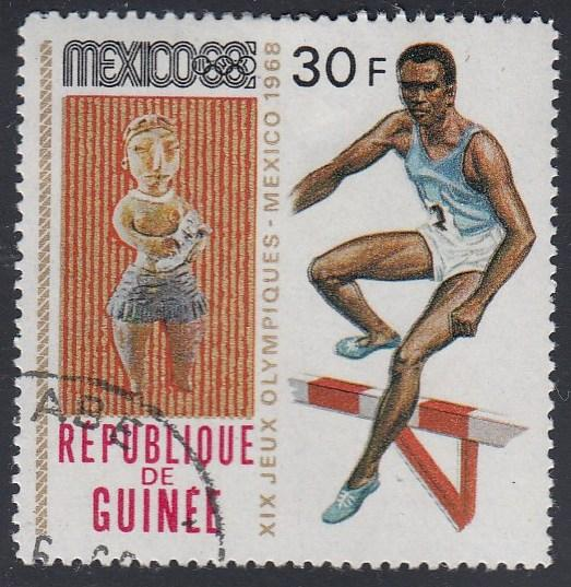 Guinea #526 Steeplechase, 1968 Olympics, Issued in 1969. Used Sm. Thin
