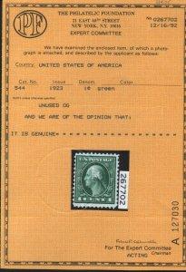 US SCOTT ##544, 1c Green, Rotary Perf 11 Mint Never Hinged Scarce (DFP 3/5/20)