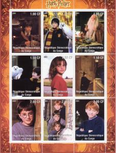 Congo 2001 HARRY POTTER-OWL Sheetlet (9) Perforated MNH