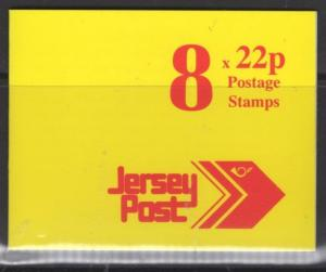 JERSEY SGSB47 1992 £1.76 SCARLET ON YELLOW BOOKLET MNH