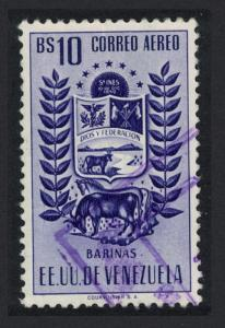 Venezuela Arms issue State of Barinas Cow and Horse 10Bs KEY VALUE 1954 Canc